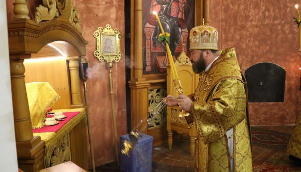 Архиерейское богослужение в Успенском храме села Успенка